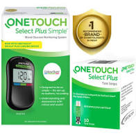 OneTouch Select Plus Simple Glucometer with 10 Free Strips Black